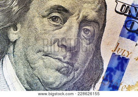 Portrait Of Benjamin Franklin On The Hundred Dollar Bill Big
