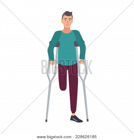 Smiling One-legged Man Or Boy With Amputated Leg Standing Or Walking With Crutches. Happy Male Carto