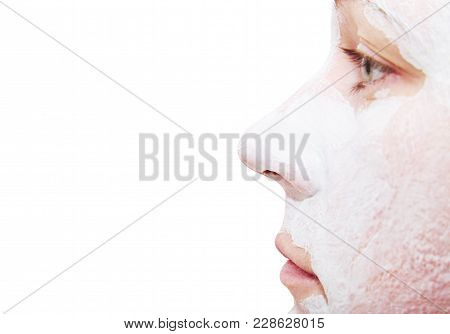 The Girl's Nose On A White Background.  Clay   Face
