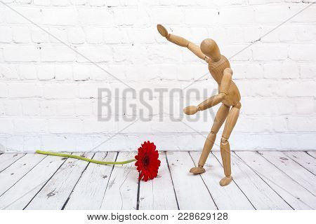 Wooden Mannequin Trying To Represent Human Movements In Moving Actions Isolated On A White Backgroun