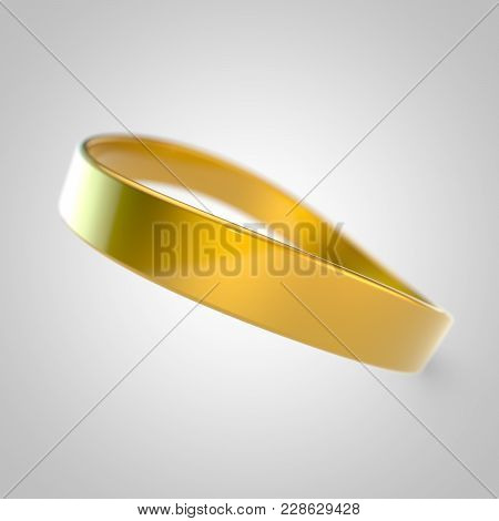 Yellow Silicone Promo Bracelet For Hand Isolated On White Background