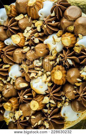 Closeup Kiev Cake With Cream And Nuts