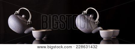 Old Style Kettle And Coffee Cups In Creative Still Life With Flying Kettle With Different Lighting T