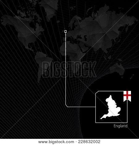 England On Black World Map. Map And Flag Of England.