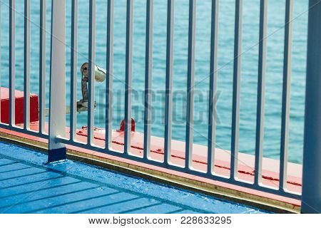 Railing And Cctv Security Camera On Deck Of Cruise Ship, Video Surveillance