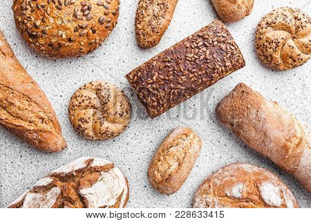 Variety Of Delicious Fresh Bread And Baguettes