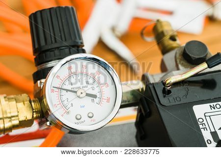 Pressure Gauge And Pressure Regulator On Compressor