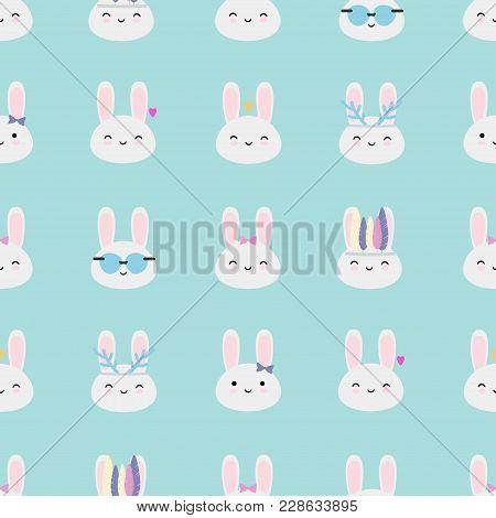 Kawaii Rabbits Seamless Vector Pattern