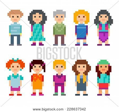 Different Pixel 8-bit Characters. Men And Women Standing On White Background. Vector Illustration.