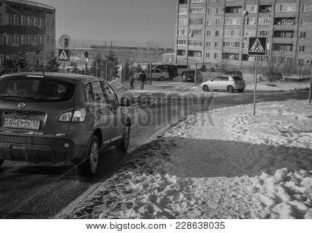 Kazakhstan, Ust-kamenogorsk, February 26, 2018: Outskirts Of The City Of Ust-kamenogorsk. Urban Land