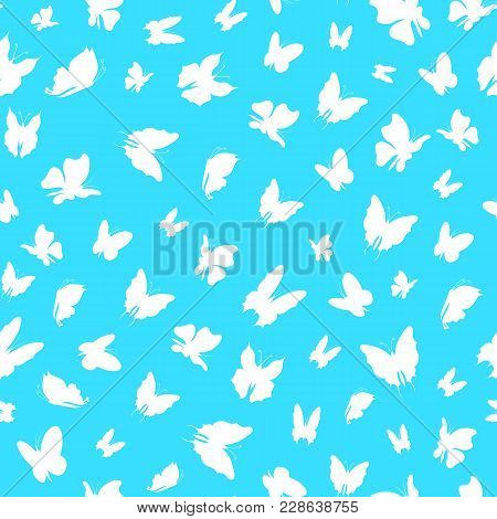 Silhouette Fly Flock Of Butterflies Seamless Pattern Background On A Blue Insect Decoration Element