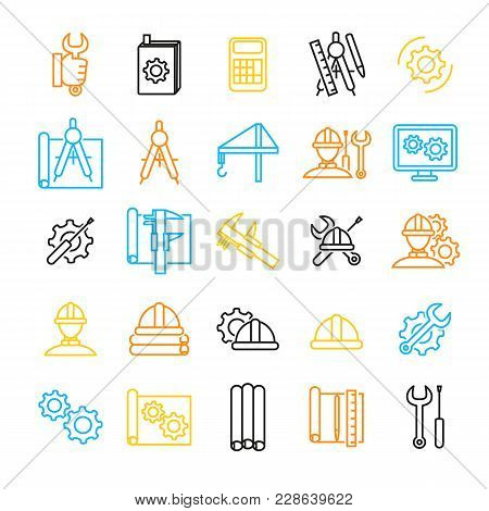 Engineering Thin Line Icon Set For Web And App On A White. Vector Illustration Of Engineer Tool And