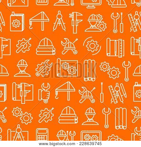 Engineering Thin Line Seamless Pattern Background On A Orange For Web And App. Vector Illustration O