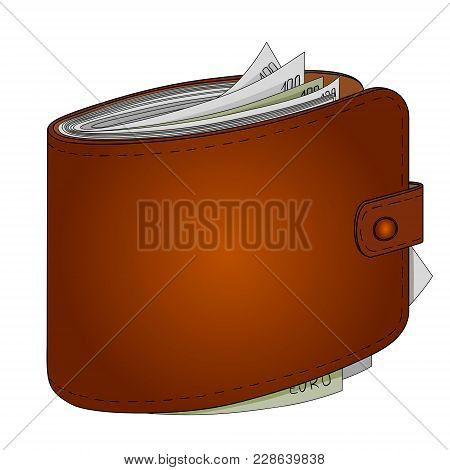 Mans Purse Full Of Money. Euro Income, Wealth. Vector Illustration Object On A White Background