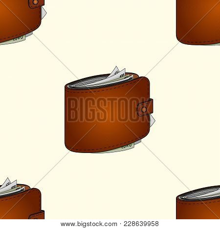 Mans Purse Full Of Money Seamless. Euro Income, Wealth. Vector Illustration Object On A Vintage Back