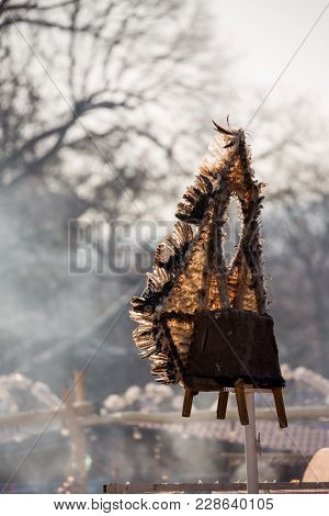 Pernik, Bulgaria - January 26, 2018: Scary Feather Kuker Totem Put At Elevated High Spot Banishes Aw