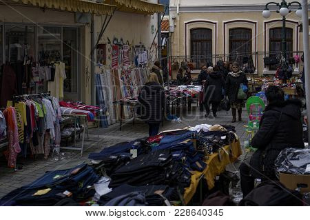 Xanthi, Greece - February 17 2018: Street Vendors Selling Products At Bazaar Market. Open Air Street