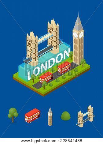 London City Famous Landmark Of Capital England And Elements Part Symbol Britain Travel Business Conc