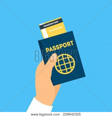 Cartoon Hand Holding Passport And Boarding Pass Travel Concept Flat Design Style On A Blue. Vector I