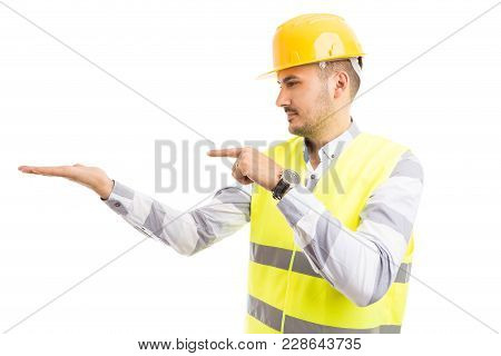 Engineer Or Architect Holding Presenting Empty Copy Space.