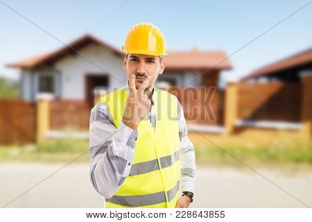 Construction Worker Making Look Into My Eyes Gesture.