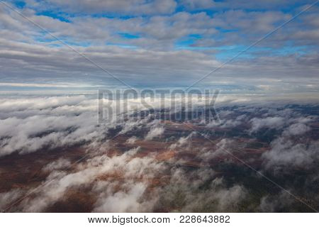 Flight Above Clouds Over Impassable Swamps In The Autumn