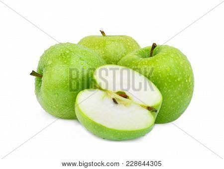 Whole And Half Green Apple Or Granny Smith Apple With Drop Of Water Isloated On White Background