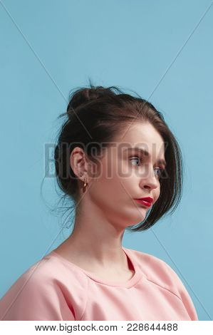 Reject, Rejection, Doubt Concept. Doubtful Woman With Thoughtful Expression Making Choice. Young Emo