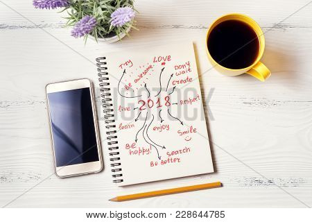 New Year Resolution In Notebook On White Desk