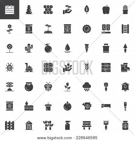 Gardening And Farming Vector Icons Set, Symbol Collection, Filled Pictogram Pack. Signs, Logo Illust