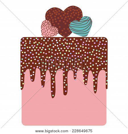 I Love You Card Design - Birthday, Valentine's Day, Wedding, Engagement. Sweet Cake, Strawberry Pink