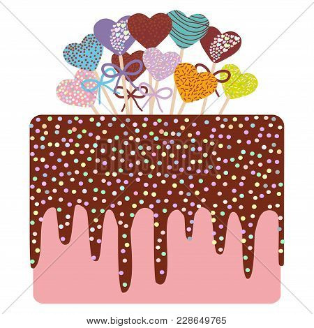 Card Design - Birthday, Valentine's Day, Wedding, Engagement. Sweet Cake, Strawberry Pink Cream Choc