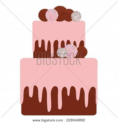 Birthday, Valentine's Day, Wedding, Engagement. Sweet Cake, Strawberry Pink Cream Chocolate Icing Sp