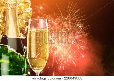 Glass Bottle Champagne Bar Color Pub Background