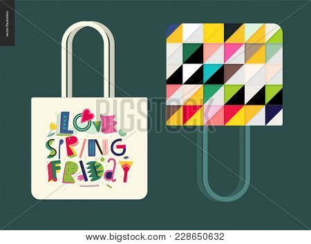 Love Spring Friday - Lettering Composition And Tote Bag Template Usage Example