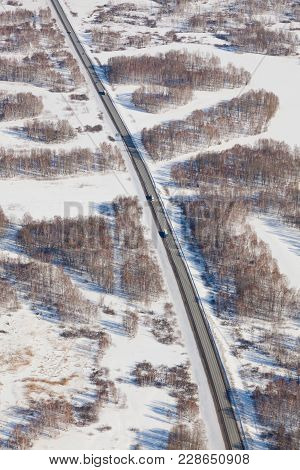 Highway In The Novosibirsk Region In Clear Winter Day, Top View