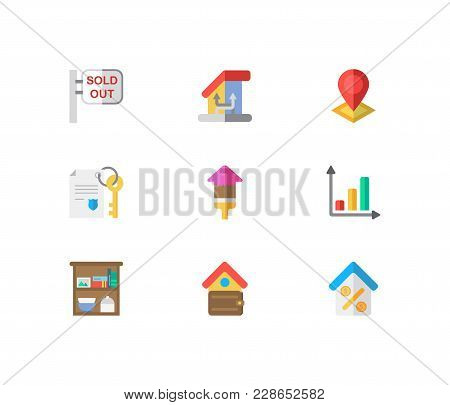Property Icons Set. Sold Out And Property Icons With Storage, Change Of Housing And Location. Set Of
