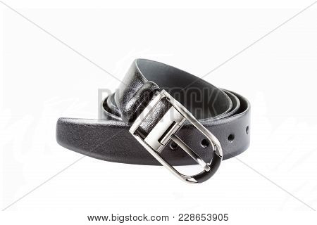 Leather Belt Male With Metal Buckle, Twisted On White Background, Isolated