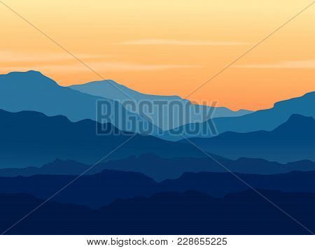 Vector Landscape With Blue Silhouettes Of Mountains And Hills With Beautiful Orange Evening Sky. Hug