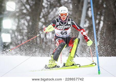 Zagreb, Croatia - January 4, 2018 : Kolega Elias Of Cro Competes During The Audi Fis Alpine Ski Worl