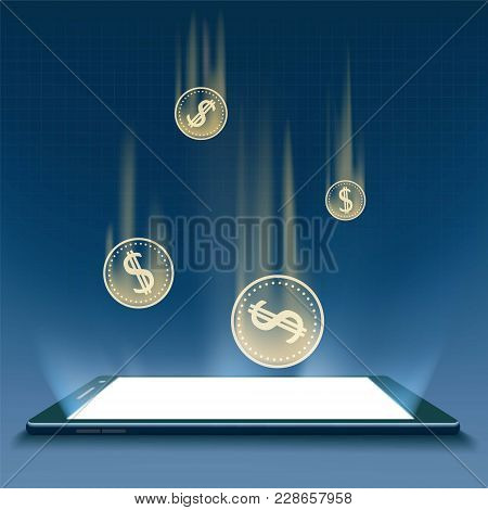 Coins With A Dollar Sign On The Smartphone Screen. Income From Financial Trading. Stock Vector Illus