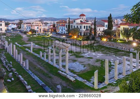 Gate Of Athena Archegetis And Remains Of The Roman Agora Built In Athens During The Roman Period, At