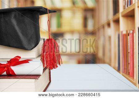 Stack Hat Books Graduation Grad White Background