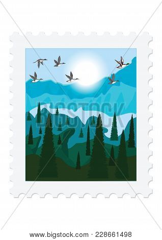 Postage Stamp - Nature - Flock Of Wild Ducks, Mountains, River, Forest - Isolated On White Backgroun