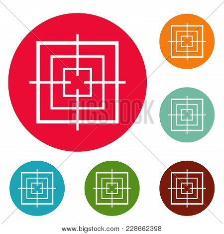 Square Objective Icons Circle Set Vector Isolated On White Background
