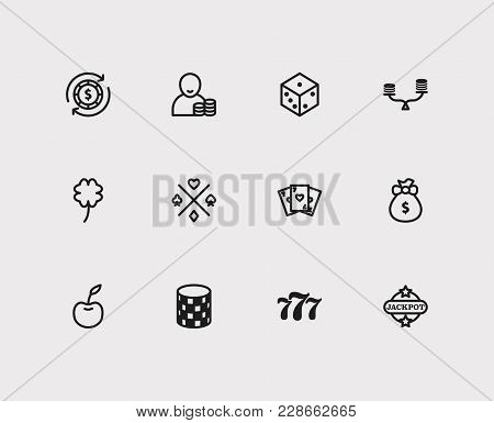 Casino Icons Set With Cherry, Gamble Chance And Gamble Play Elements. Set Of Casino Icons Also Inclu
