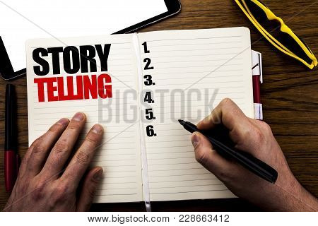 Word, Writing Storytelling. Business Concept For Teller Story Message Written Book, Wooden Backgroun