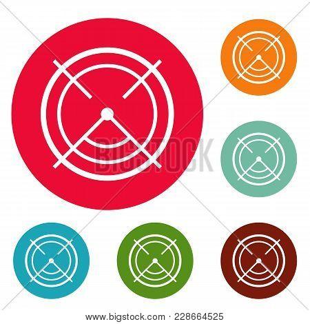 Aim Radar Icons Circle Set Vector Isolated On White Background
