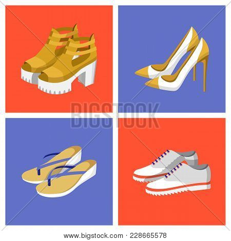 Summer Mode Shoes Set, Footwear With High Heels And Platform, Images With Frames And Different Color