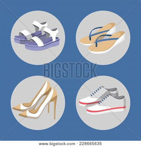 Shoe Collection, Summer Mode, Poster With Circles Images Of Footwear, Flip-flops And Sneakers, Set O